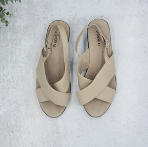 Trotters Beige Leather Cross Strap Wedge Sandals 9